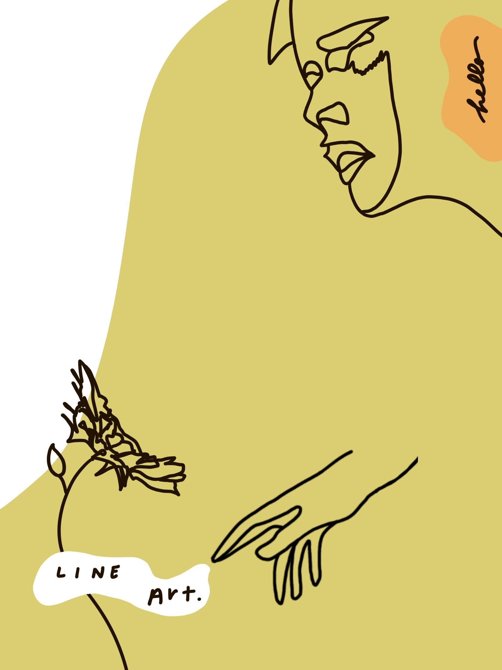Artwork depicting a person's hand reaching for a flower