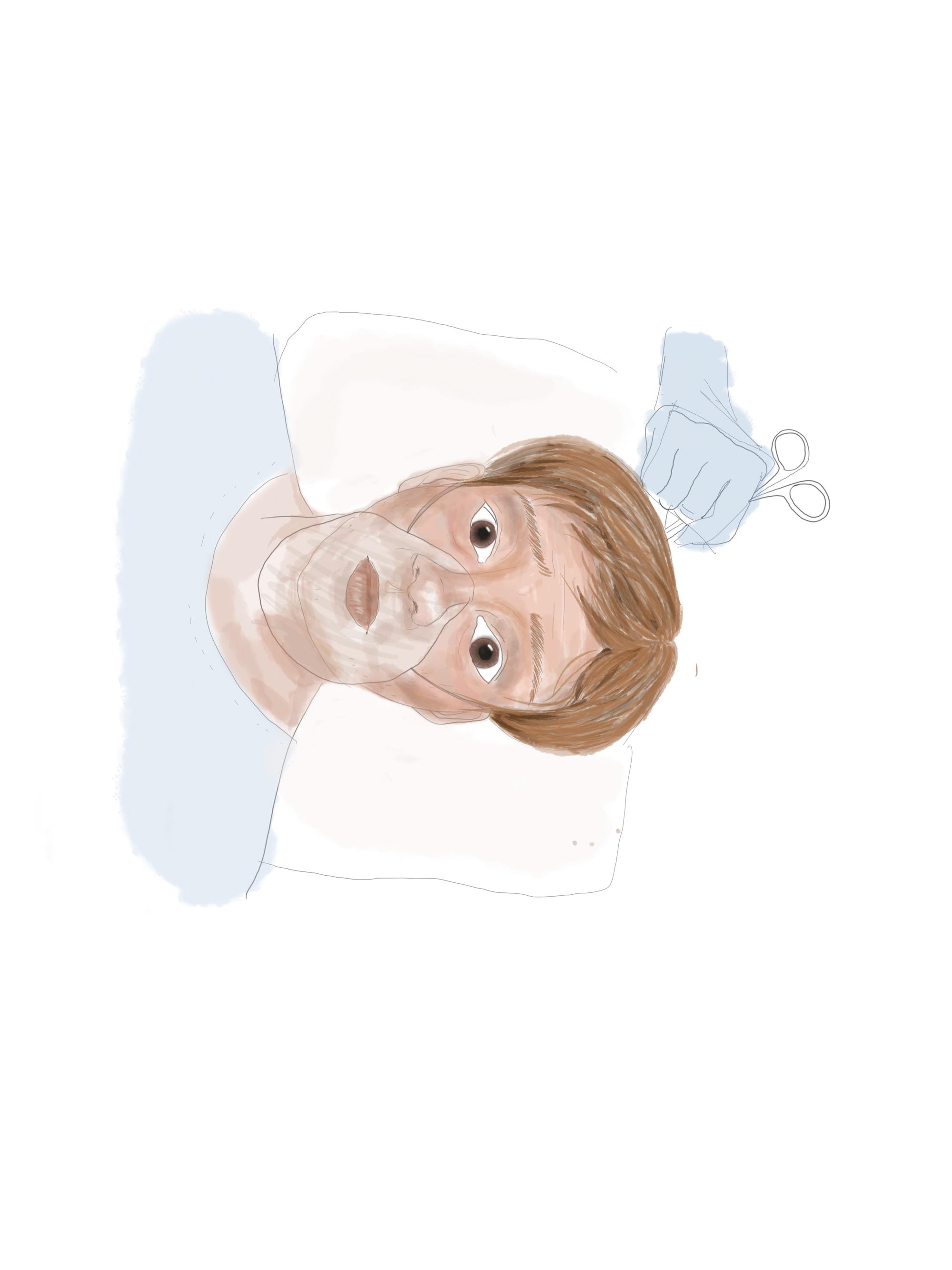 Artwork depicting a brain surgery patient