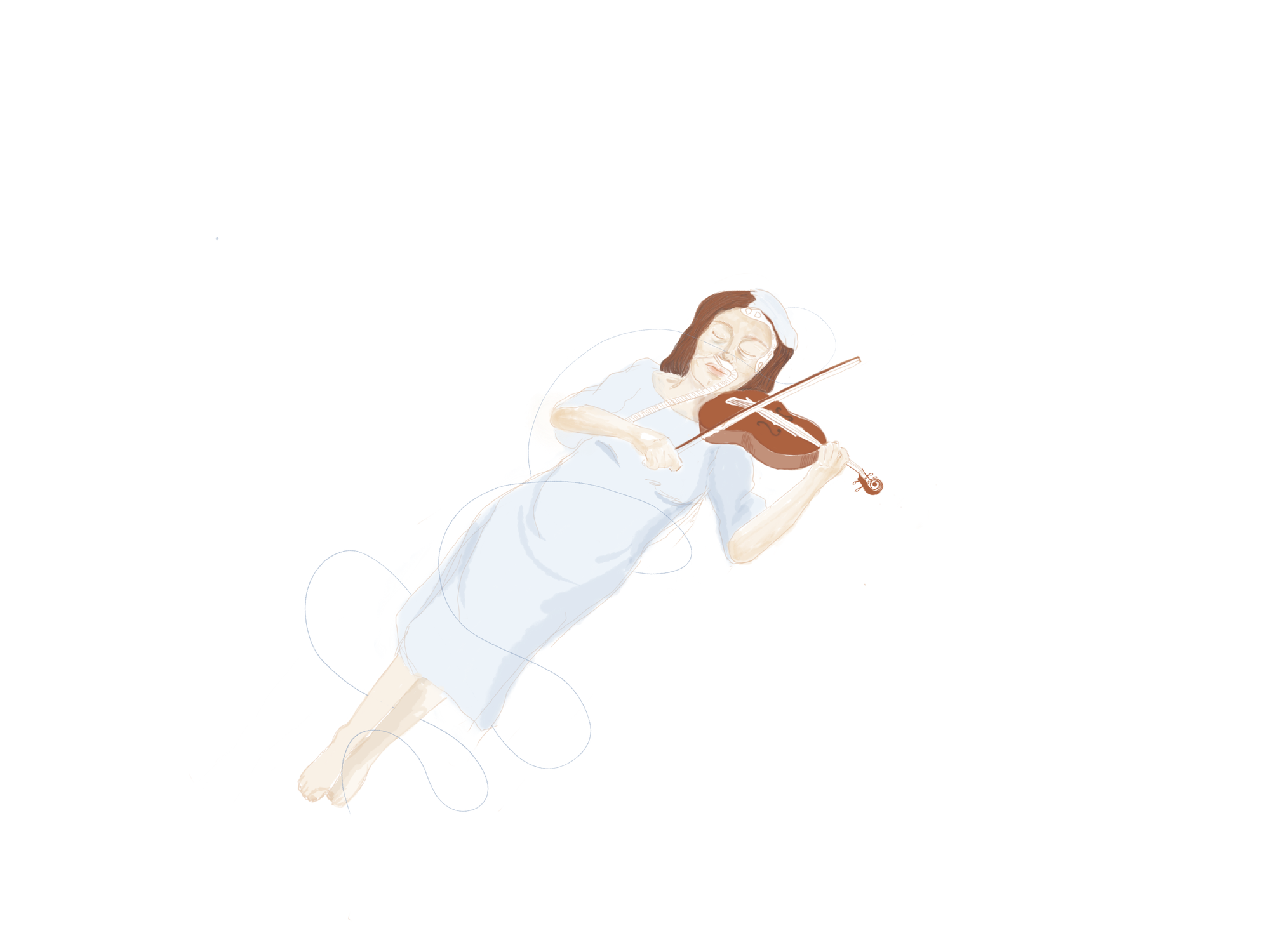 Artwork depicting a patient playing the violin