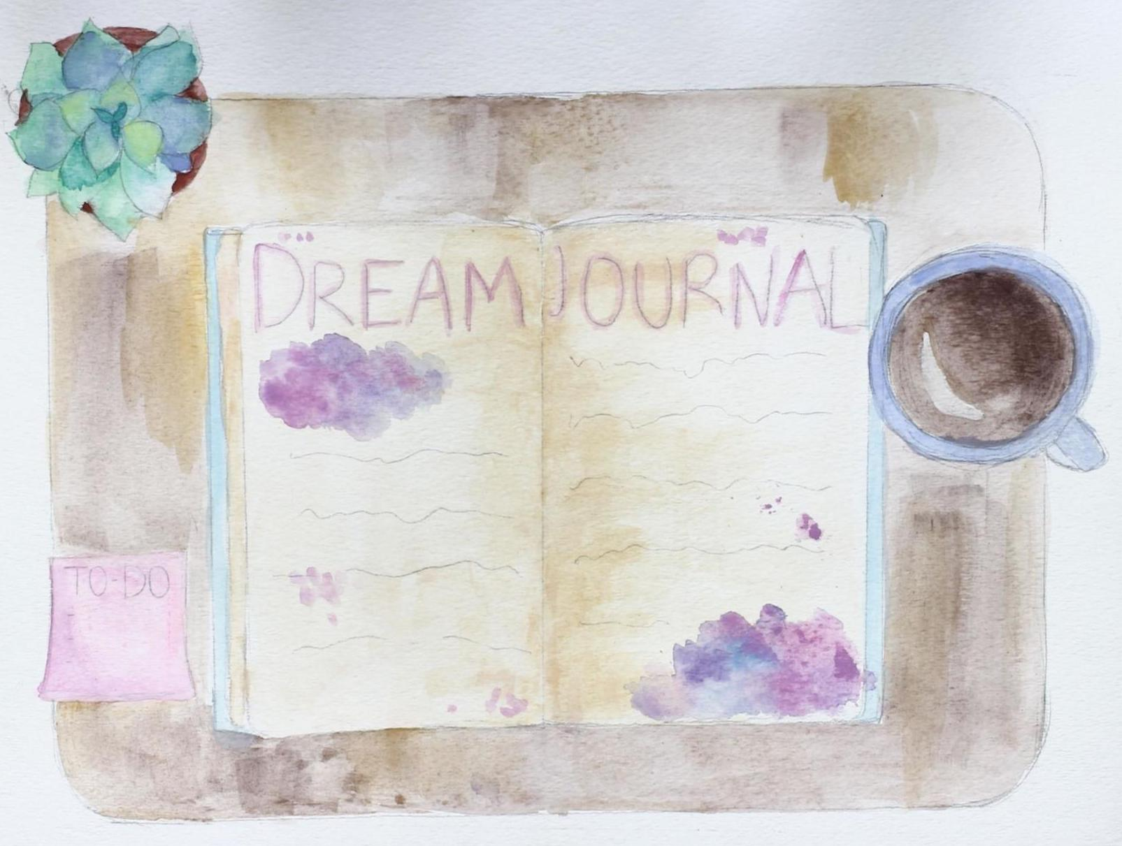 Artwork depicting a dream journal
