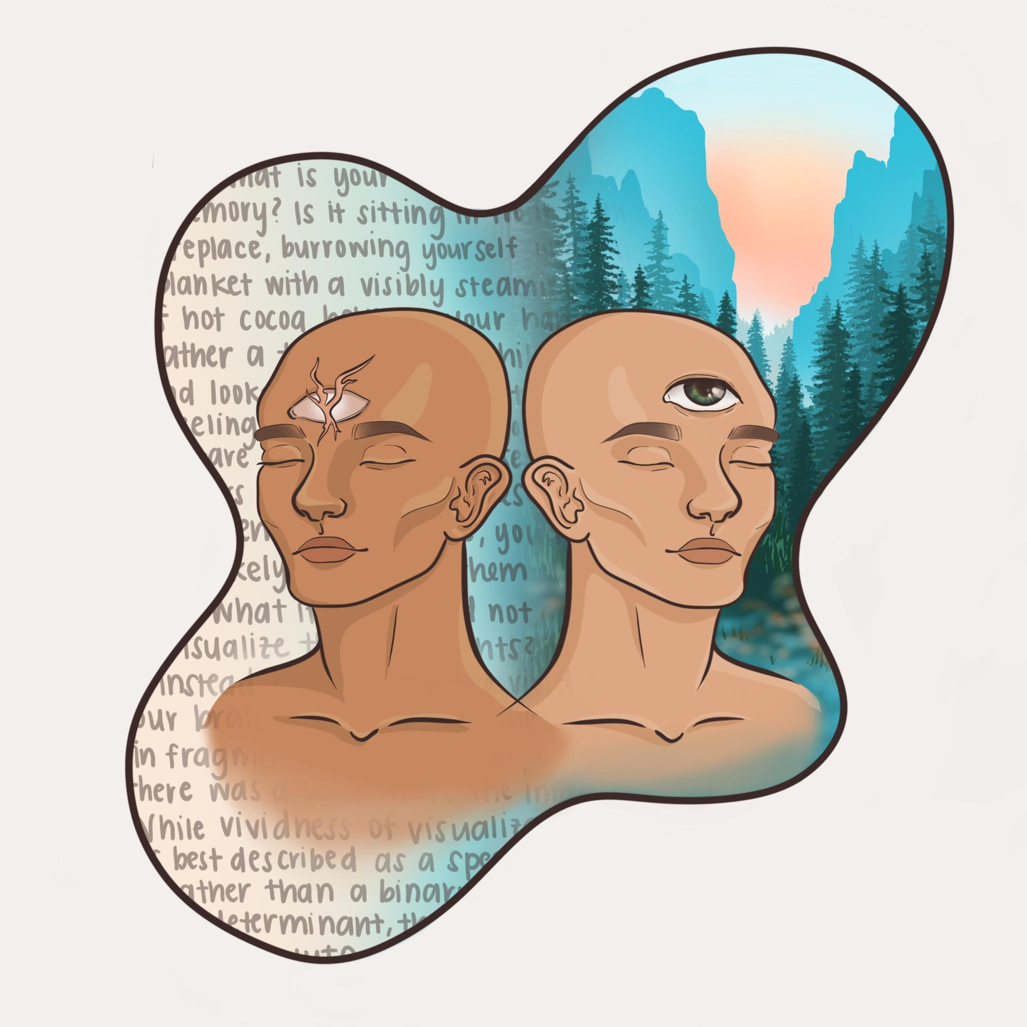 Artwork depicting how those with aphantasia lack a 'mind's eye'; because those with aphantasia lack a visual memory, they use literary memory instead